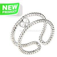 Fashion style 925 sterling silver adjustable twisted rings acces