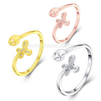 925 sterling silver Butterfly adjustable rings mounting