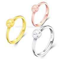 925 sterling silver Simple design adjustable rings mounting
