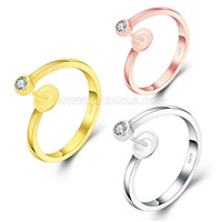 925 sterling silver simple shape adjustable ring fitting