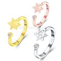 925 sterling silver adjustable Hexagram pearl rings fitting