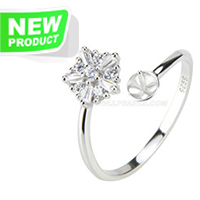 Fashion style 925 sterling silver flower adjustable rings access