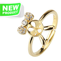 Fashion style sterling silver gold plated lovely adjustable ring