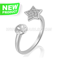 Fashion 925 sterling silver Star adjustable rings accessory