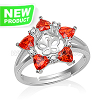 Fashion 925 sterling silver Red flower adjustable rings accessor