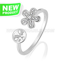 Fashion 925 sterling silver Flower adjustable ring mounting