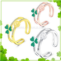 Fashion 925 sterling silver Clover adjustable rings accessory