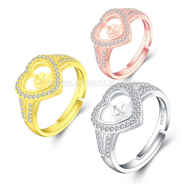 72267158c 925 sterling silver zircon heart pearl rings setting for women LP ...