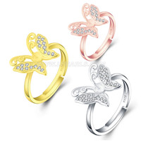 925 silver zircon pearl butterfly adjustable  rings for women