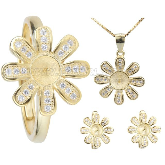 wholesale 925 sterling silver plated gold  rings earrings set fi