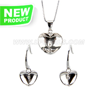 Fashion 925 sterling silver apple shape necklace earrings set fi