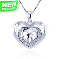 S925 sterling silver CZ heart pearl necklace pendant setting