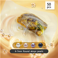 50pcs vacuum-packed oysters with 6-7mm round akoya pearls