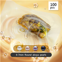 100pcs vacuum-packed oysters with 6-7mm round akoya pearls