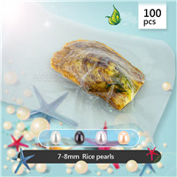100pcs vacuum-packed oysters with 7-8mm rice pearls