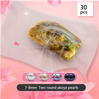 30pcs wholesale 7-8mm Round Akoya two pearls oyster