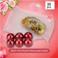Red Round AAA Akoya 6-7mm pearl in oyster 30pcs