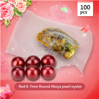 wholesale 6-7mm round  red Akoya pearl oyster 100pcs
