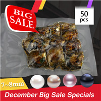 7-8mm saltwater round Akoya pearl in oyster 10pcs pack 50pcs