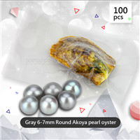 wholesale 6-7mm round gray saltwater Akoya pearl oyster 100pcs