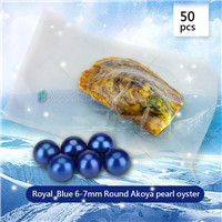 wholesale 6-7mm saltwater round Akoya blue pearl oyster 50pcs
