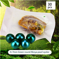 Attractive wholesale 6-7mm saltwater round Akoya green pearl oys