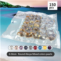 6-8mm saltwater round mixed colors Akoya pearl in oyster 150pcs