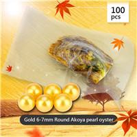wholesale 6-7mm round  gold Akoya pearl oyster 100pcs