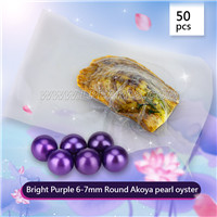 wholesale 6-7mm saltwater round Akoya bright purple pearl oyster