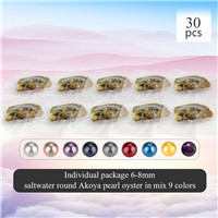 6-8mm saltwater round Akoya pearl oyster mixed 9 colors 30pcs