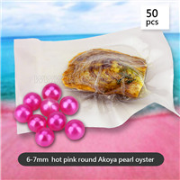New Hot Pink 6-7mm saltwater round Akoya pearl oyster 50pcs