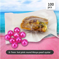 Popular Hot Pink 6-7mm round Akoya pearl oyster 100pcs