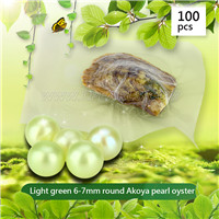wholesale 6-7mm round  light green Akoya pearl oyster 100pcs