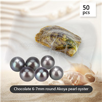 6-7mm saltwater round Akoya Chocolate pearl oyster 50pcs