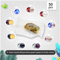 6-7mm saltwater round mixed colors Akoya twin pearls in oyster 5