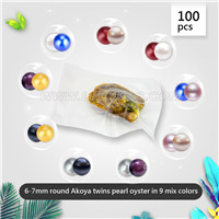 6-7mm saltwater round mixed colors Akoya twin pearls in oyster 1