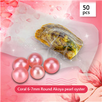 Newest Coral 6-7mm saltwater round Akoya pearl oyster 50pcs