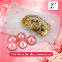 Newest Coral 6-7mm round Akoya pearl oyster 100pcs