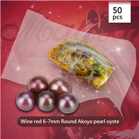 Newest Wine red 6-7mm saltwater round Akoya pearl oyster 50pcs
