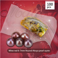 Newest Wine red 6-7mm round Akoya pearl oyster 100pcs
