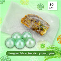 Newest Lime green 6-7mm Round Akoya pearl oyster 30pcs