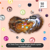 6-7mm Four round Akoya pearls in oyster mixed 18 colors 50pcs