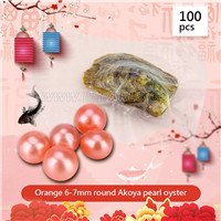 Hot sale Orange 6-7mm round Akoya pearl oyster 100pcs