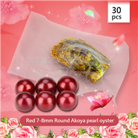 Amazing Red 7-8mm Round Akoya pearl oyster 30pcs