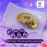 Beautiful Bright purple 7-8mm Round Akoya pearl oyster 30pcs