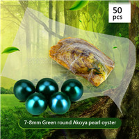 Attractive Green 7-8mm Round Akoya pearl oyster 50pcs