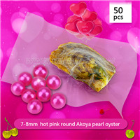 Shinning Hot pink 7-8mm Round Akoya pearl oyster 50pcs