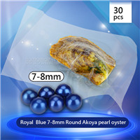 Royal blue 7-8mm Round Akoya pearl oyster 30pcs