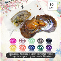 Mixed 10 colors 6-7mm Round Akoya twin pearls oyster 50pcs