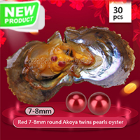 Latest 7-8mm Round Akoya Red twin pearls oyster 30pcs